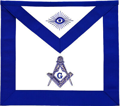 Masonic Master Mason Apron Blue Hand Embroidered Silver Bullion (Ma-280-V)