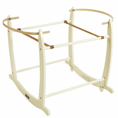 New Clair De Lune Cream Wooden Deluxe Rocking Stand To Fit Moses Baskets
