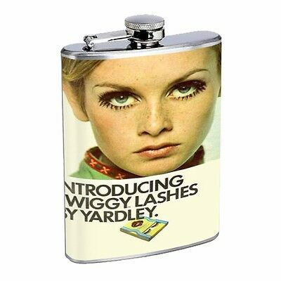 Twiggy Eyelashes 1960s Retro Flask D91 8oz Stainless Steel Lashes by Yardley