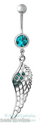 BLUE FEATHER SURGICAL STEEL BELLY or NAVEL BAR BELL RING Wicca Witch Pagan