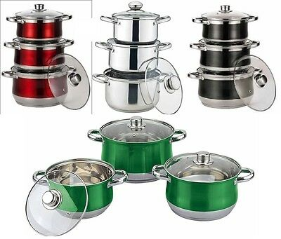 Set of 3 Coloured Stainless Steel Stock Pot  Pan Pans Induction Base Glass Lid