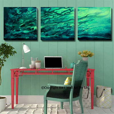 Set Of 3 Splash Abstract Stretched Canvas Prints Framed Wall Art Decor Painting