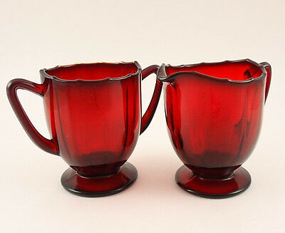 New Martinsville Glass ADDIE 12 Point Ruby Red Creamer and Sugar Bowl