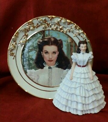 Bradford Exchange Gone With The Wind No. 3 Ruffles And Lace Plate  & Figurine