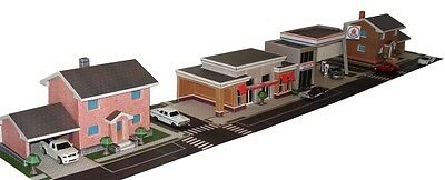 1:64 3D Paper Model City Buildings in PDF Files: House, Gas Station, Shop Store