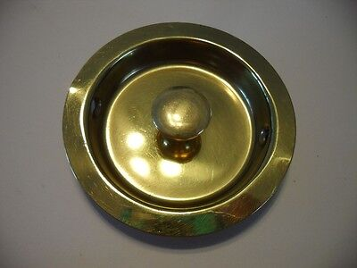"Vintage NOS 2-1/2"" Round BRASS Plated Sliding Pocket /Closet /Cabinet Door Pulls"