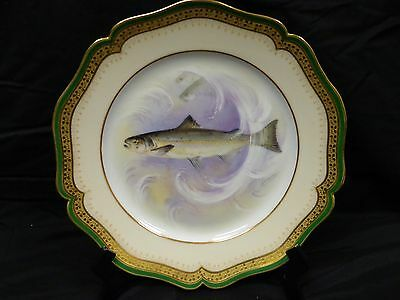 Limoges Hand Painted Fish Plate Artist Signed Atlantic Salmon Wm. Guerin