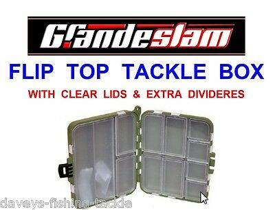 FLIP TOP TACKLE BOX FOR CARP FISHING HOOKS SAFETY LEAD CLIPS RIG BEADS ETC