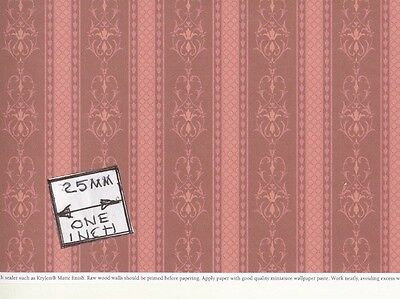 """Brodnax Prints - """"Rosewood Red"""" 1VT353 miniature Victorian wallpaper 1/12 scale"""