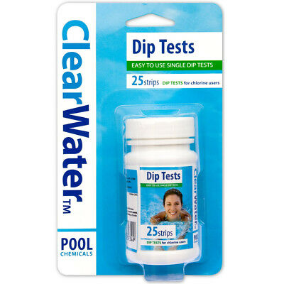 Clearwater Chlorine Dip Test Strips Hot Tub Lay-Z-Spa Swimming Pool 25 Ph Strips