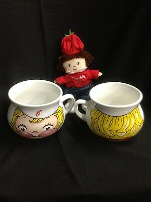 Vintage Set Cambells Soup XLarge Mugs With Beanie Doll