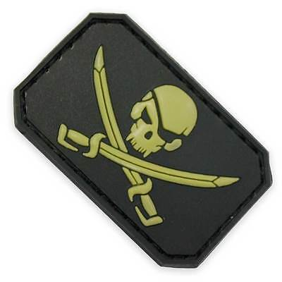 3D PVC Pirate Skull & Swords Army Military Biker Tactical Morale Patch Black