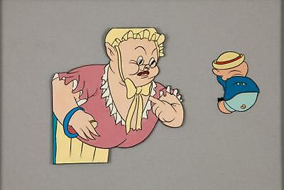 """VINTAGE PORKY PIG ANIMATION CELL 10"""" by 6.5"""" Warner Brothers Matted"""