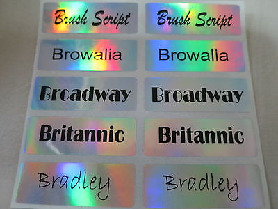 400 Hologram Silver Personalized Waterproof Name Stickers Customized Labels Deca
