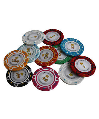 14G Monte Carlo Poker Room Clay Poker Chips Sample Set