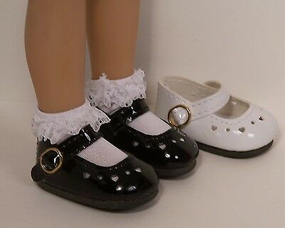 "BLACK Patent  Heart CF Doll Shoes For Dianna Effner 13"" Little Darling DEBs"