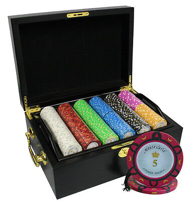 500 14G Monte Carlo Poker Room Poker Chips Set Mahogany Case