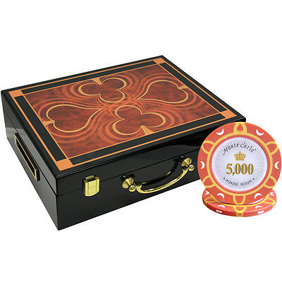 500 14G Monte Carlo Poker Room Poker Chips Set High Gloss Wood Case