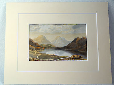 Wast Water English Lakes Very Rare Antique Double Mounted Victorian Print 1880