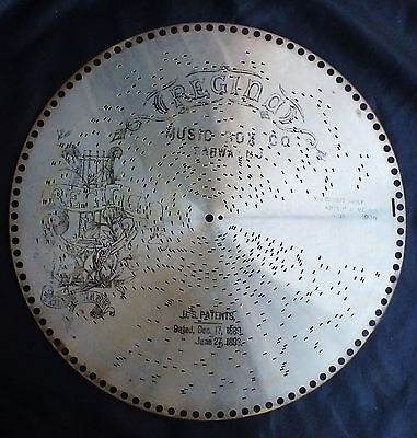 "1893 15 1/2"" REGINA MUSIC BOX DISK - YOU COULDN'T HARDLY NOTICE AT ALL"