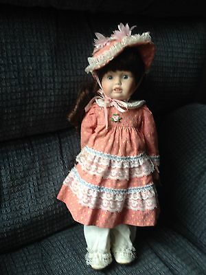 "Brinn's 1989 Vintage 15"" Victorian porcelain collectible doll ""Kim"" With Teeth"