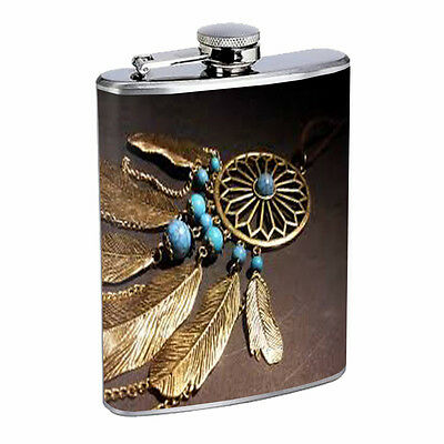 Dreamcatcher Flask D4 8oz Stainless Steel Native American Culture Willow Snare