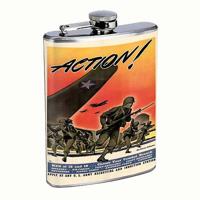 Vintage Propaganda Ad Hip Flask D7 8oz Stainless Steel Political Advertistment