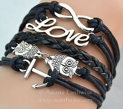 BLACK LOVE, OWLS, INFINITY & ANCHOR CHARMS BRACELET Wicca Witch Pagan Goth