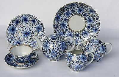 Tea set 6/22 pcs BINDWEED, Cobalt and 22K gold,  Imperial Porcelain, Russia