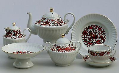 Tea set 6/22pcs BRIGHT, shape TWISTED, Lomonosov / Imperial Porcelain, Russia