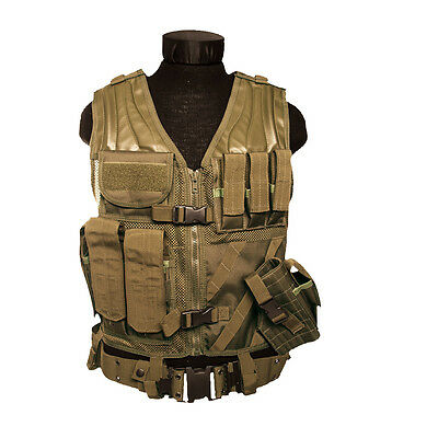 US Army Airsoft USMC Tactical Combat Assault Vest Military Holster Pouches Tan