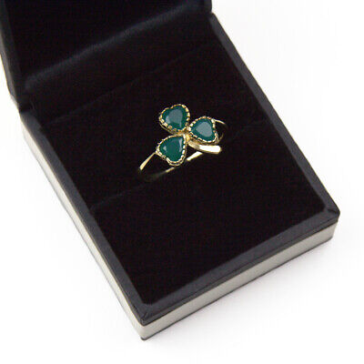 Ladies 9ct Gold Lucky Shamrock Ring set with Agate, Handmade in UK