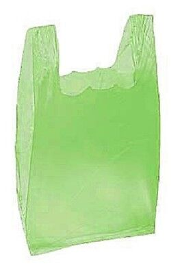 Lime Green Plastic Bags T-Shirt 2000 Retail Merchandise Grocery  8 x 5 x 16""