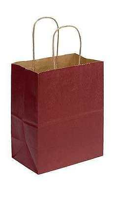 "Paper Shopping Bags Cub100 Red Gift Retail Merchandise Handles 8"" x 5"" x 10"""