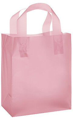 100 Medium Pink Frosted Plastic Retail Merchandise Shopping Gift Bags 8 x 5 x 10