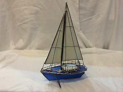 """Handmade Stained Glass Sailboat Blue-White 9023-B1  6.25 L"""" x 4.25 D"""" x 10.5''H"""