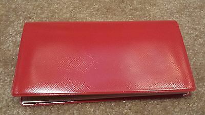 2 - Red Vinyl Checkbook Holder w/ Duplicate Flap Cover Top Tear Checks Register