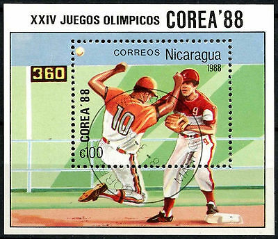 Nicaragua 1988 SG#MS2954 Baseball Olympic Games Cto Used M/S #A84724