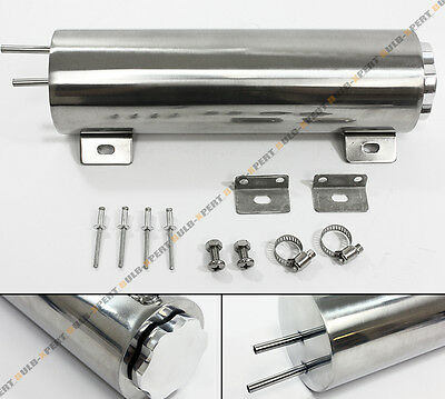 "3"" x 10"" Universal Polished Stainless 30 oz Radiator Over Flow Tank Can SBC BBC"