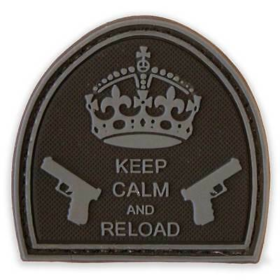 3D PVC Keep Calm & Reload Morale Patch Black Urban Tactical Velcro Backed