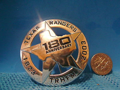 Texas Ranger badge pin back 180th Anniversary TRHFM FREE Shipping in the USA