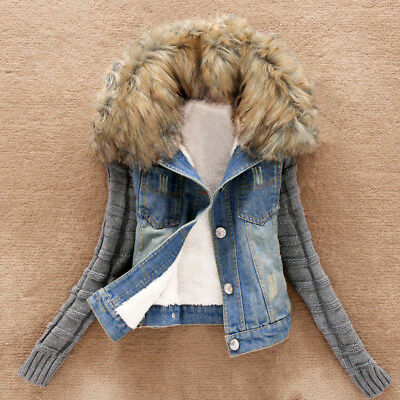 Women Lady Winter Warm Jeans Button Knit Sleeve Cowboy Denim Pockets Jacket Coat