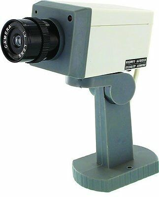 New Fake Security Camera Dummy Surveillance Red Blinking Light w/ Motion Sensor