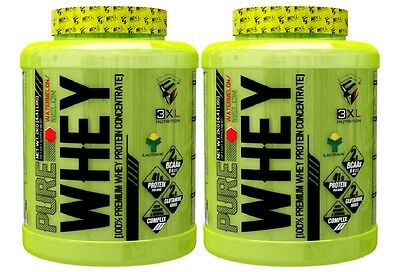 2 BOTES TOTAL 4Kg PROTEINAS PURE WHEY 2KG 3XL NUTRITION sabor LIMON