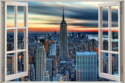 New York Scene Window View Colour WALL ART CANVAS FRAMED OR POSTER PRINT