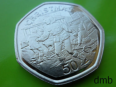 1995: IOM: Isle of Man 'Children Sledging' BUNC Christmas 50p: 50 Pence Coin.