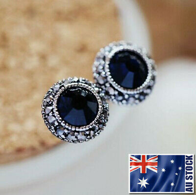 Antique Style 925 Sterling Silver Blue Sapphire 10mm Stud Earrings Vintage Look