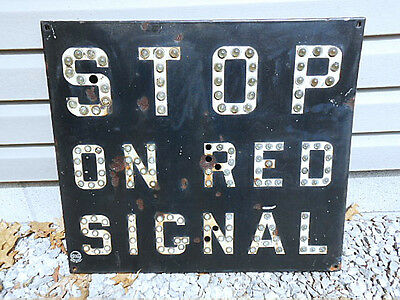 VINTAGE RAILROAD SIGN STOP ON RED WITH GLASS MARBLES