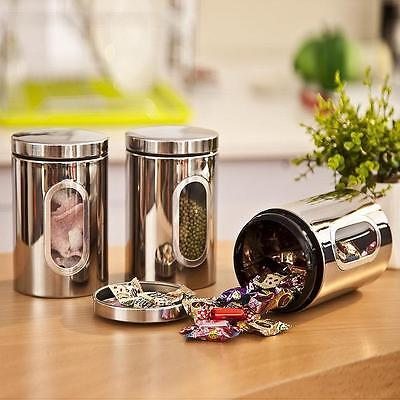 Stainless Steel Storage Canister Window Jar Stackable Bottle Box Tea Container