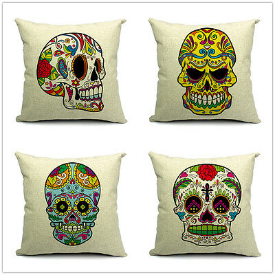 Vintage Linen Cotton Couch Sofa Cushion Cover Throw Pillow - Skeleton 45 X 45 cm